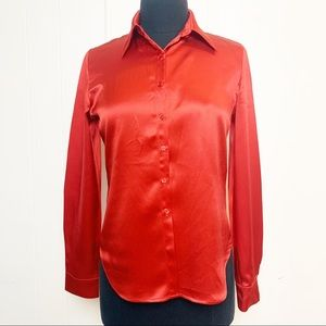 Vintage Casual Corner 100% Silk Red Blouse